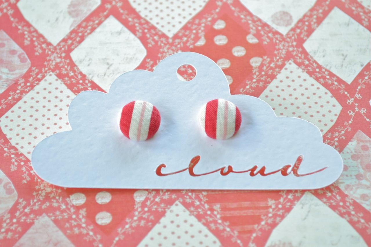 Pink, Red and White Stripe Fabric Covered Button Earrings - CloudJewellery