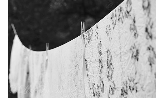 Black and White Photo, Fresh Linen Photograph, Wall Decor, Clothes Line, Table Cloth Print, Still Life Photograph, Fine Art Photography - LostInTheValleyPhoto