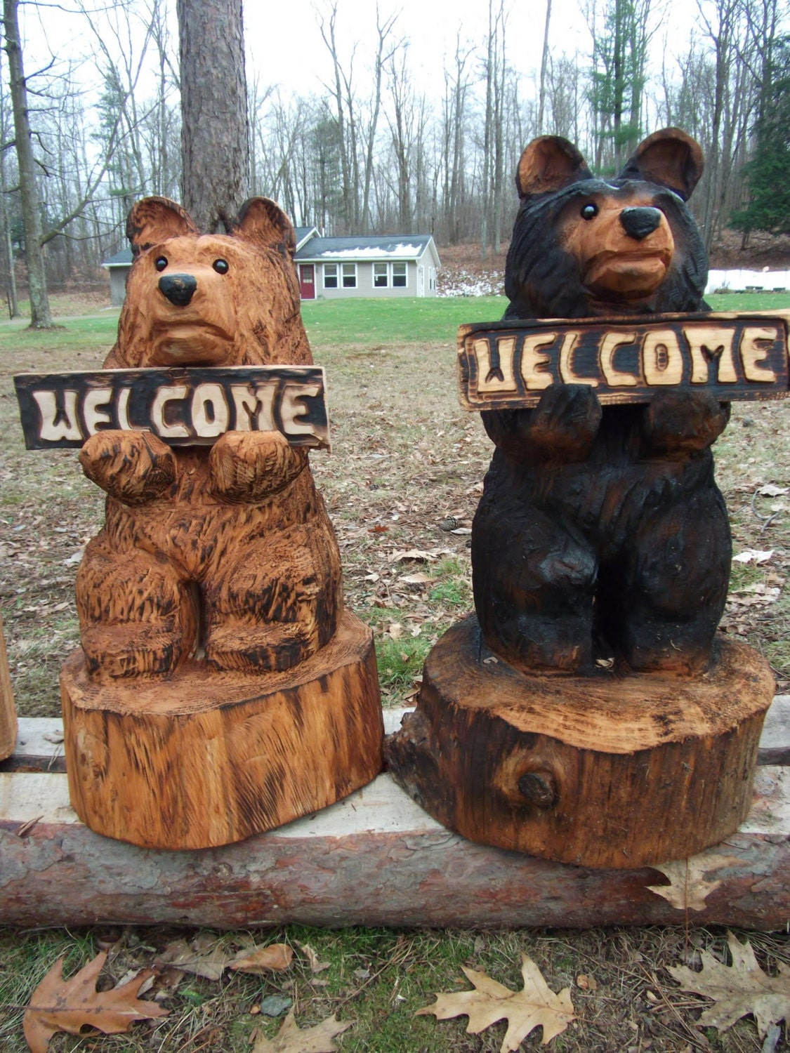 Chainsaw carved welcome bear by carvnstitch on etsy