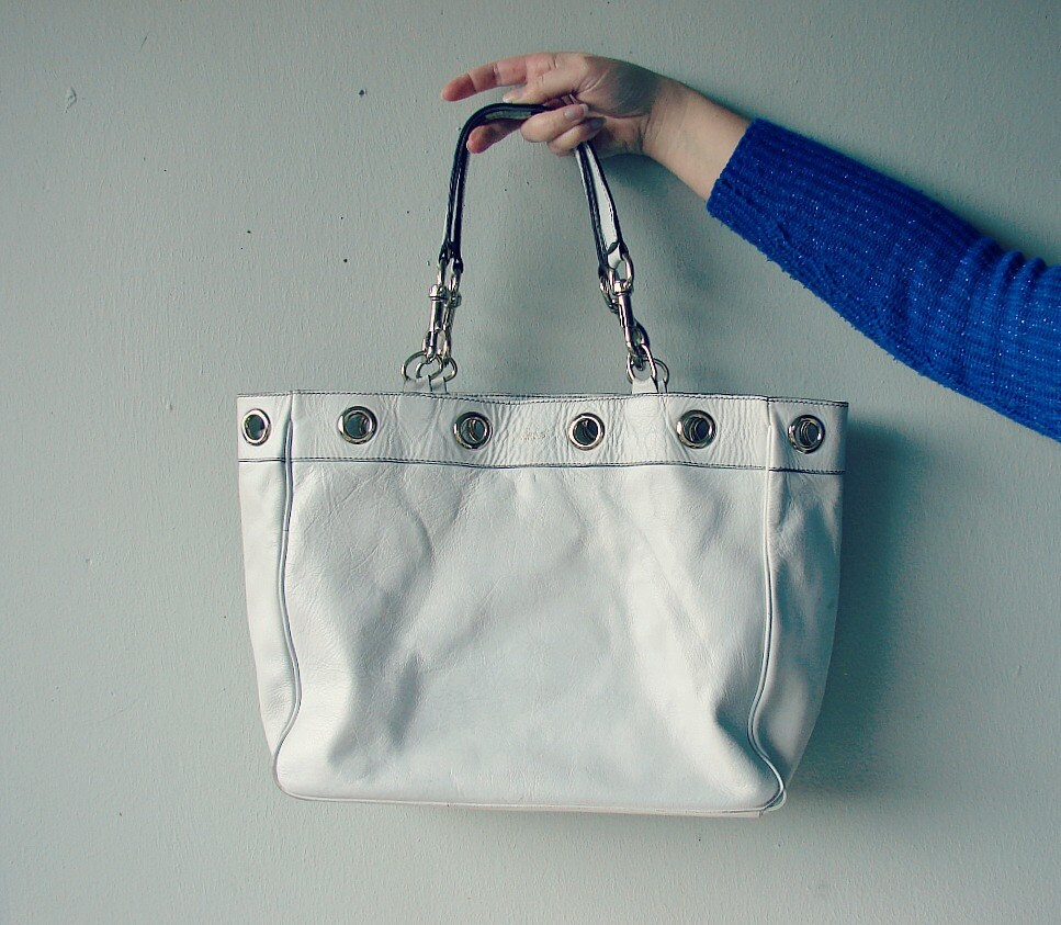 Gucci handbag white leather. Large leather tote bag. Gucci marked scarf tote bag. Vintage designer shoulder bag. - OnceLostBoutique