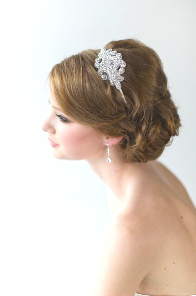 Bridal Headband, , Rhinestone Headband, Wedding Headpiece, Fascinator, Wedding Hair Accessory, Ribbon Bridal Headband