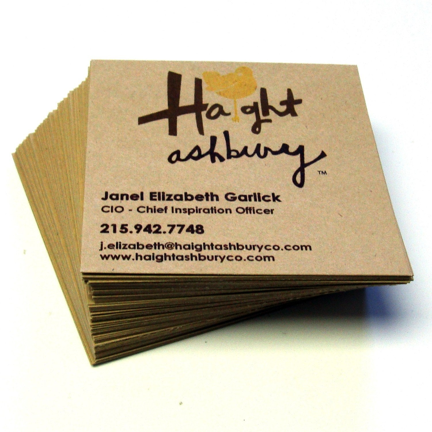 48 Custom SQUARE Recycled KRAFT Business Cards by scrapbits