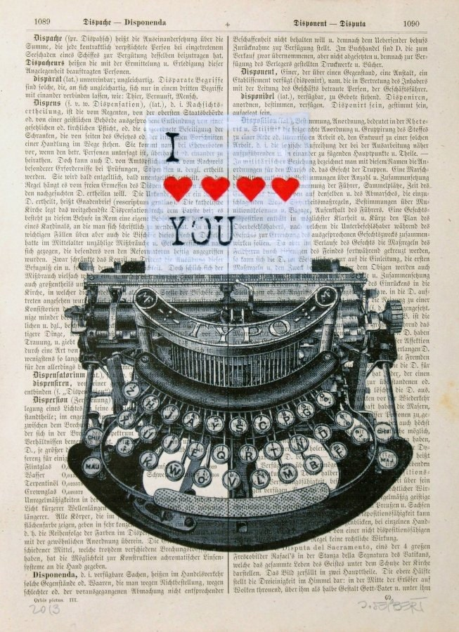 LOVE LETTER print poster mixed media painting illustration - artretro