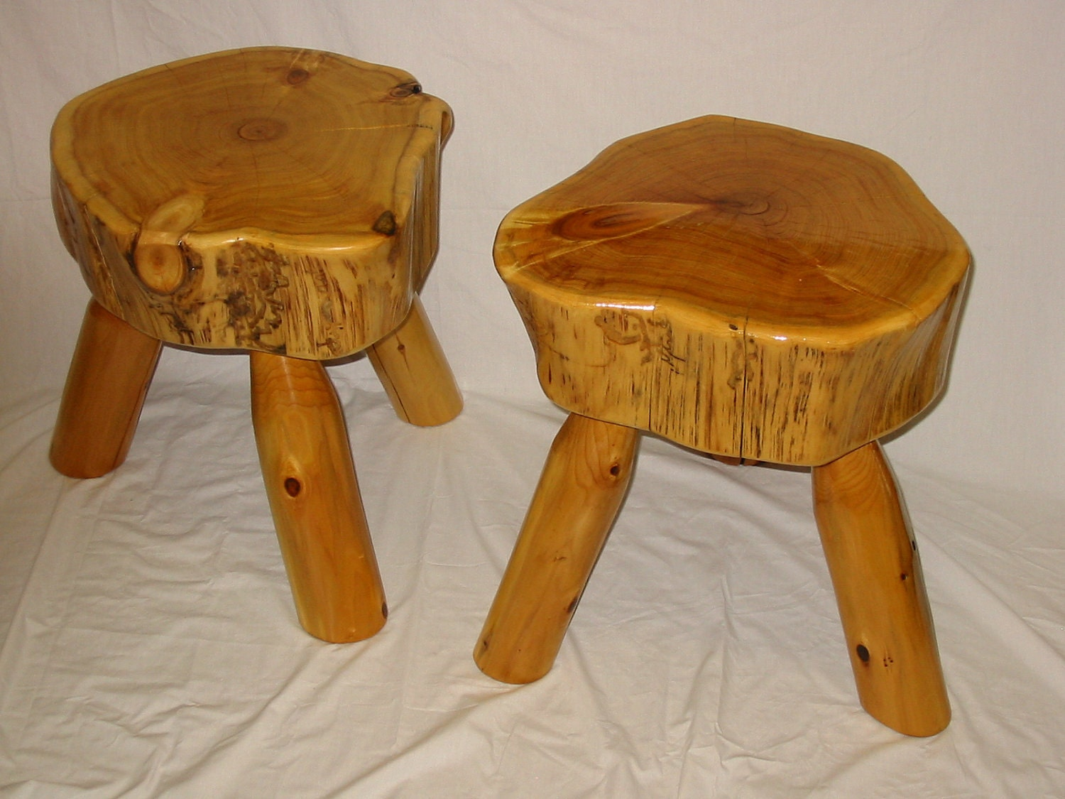 rustic white cedar log stool with exterior by fromthefortyllc