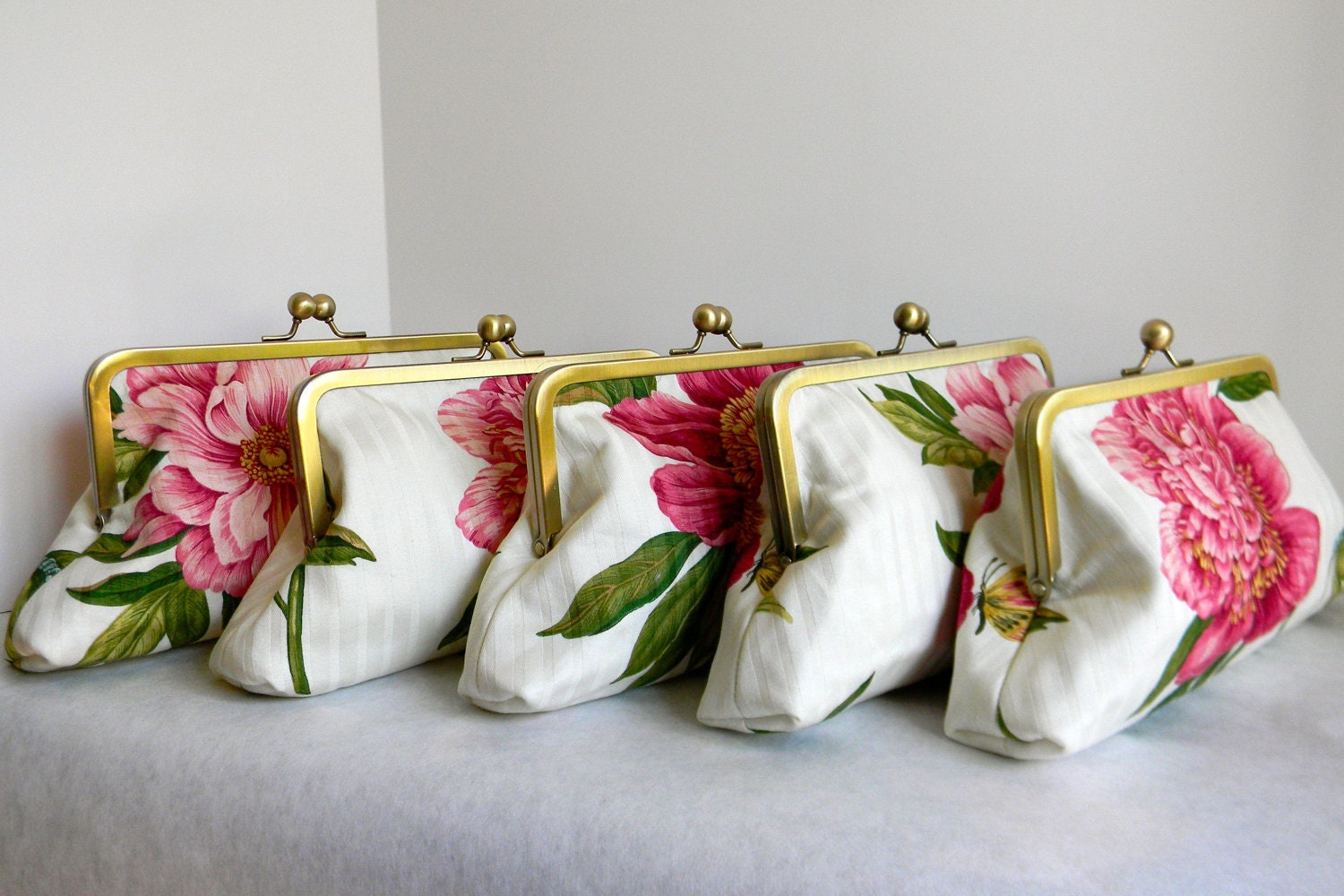 Gorgeous pink peony flower clutch set of 5 pink floral wedding bridal party clutches small purse