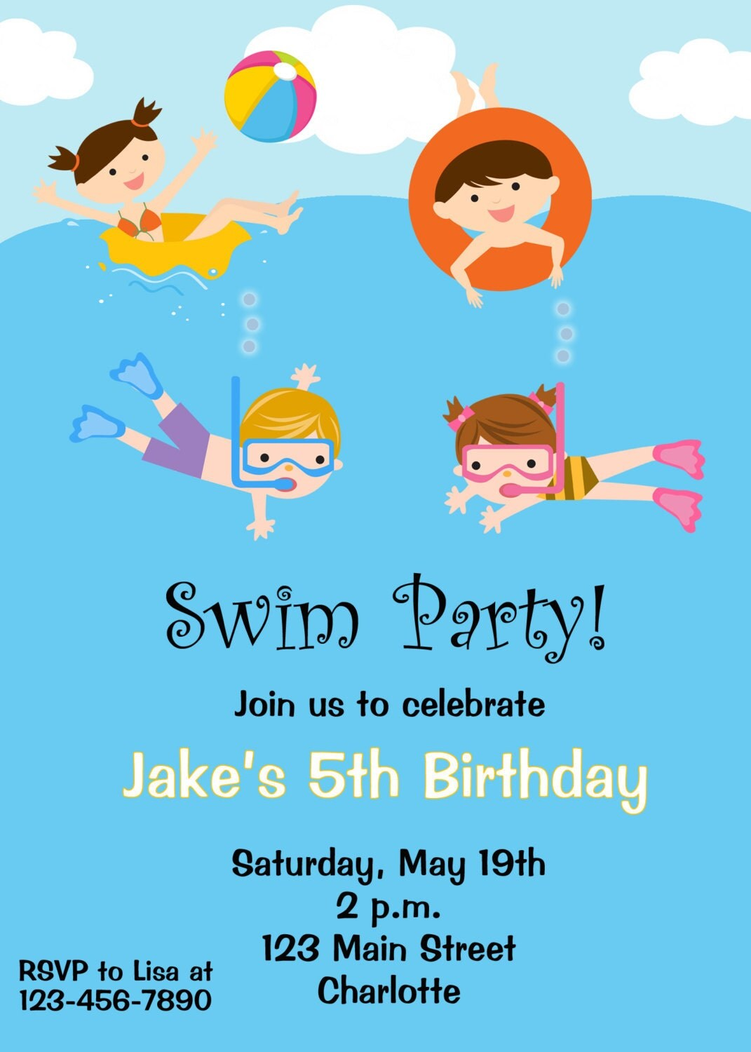 Pool party birthday party invitations printable or digital - Pool Party Birthday Invitation Pool Party By Thebutterflypress