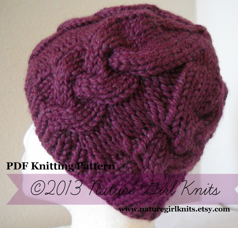 PDF KNITTING PATTERN // Chunky Cable Knit Hat by naturegirlknits