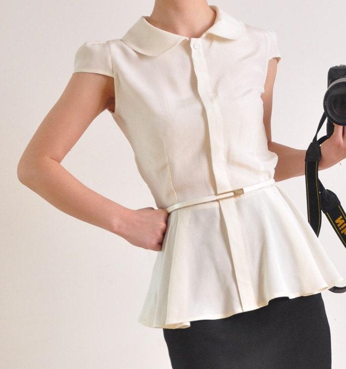 Cream White Heavy Weight Pure Silk Short Sleeves Peplum Flared Hem Victorian Lady Shirt