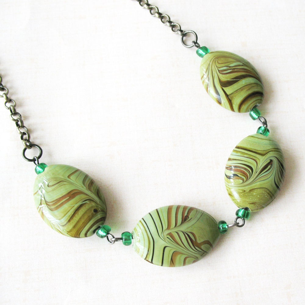 Green and Brown Beaded Necklace - Avocado Swirl - Under 30 - pulpsushi