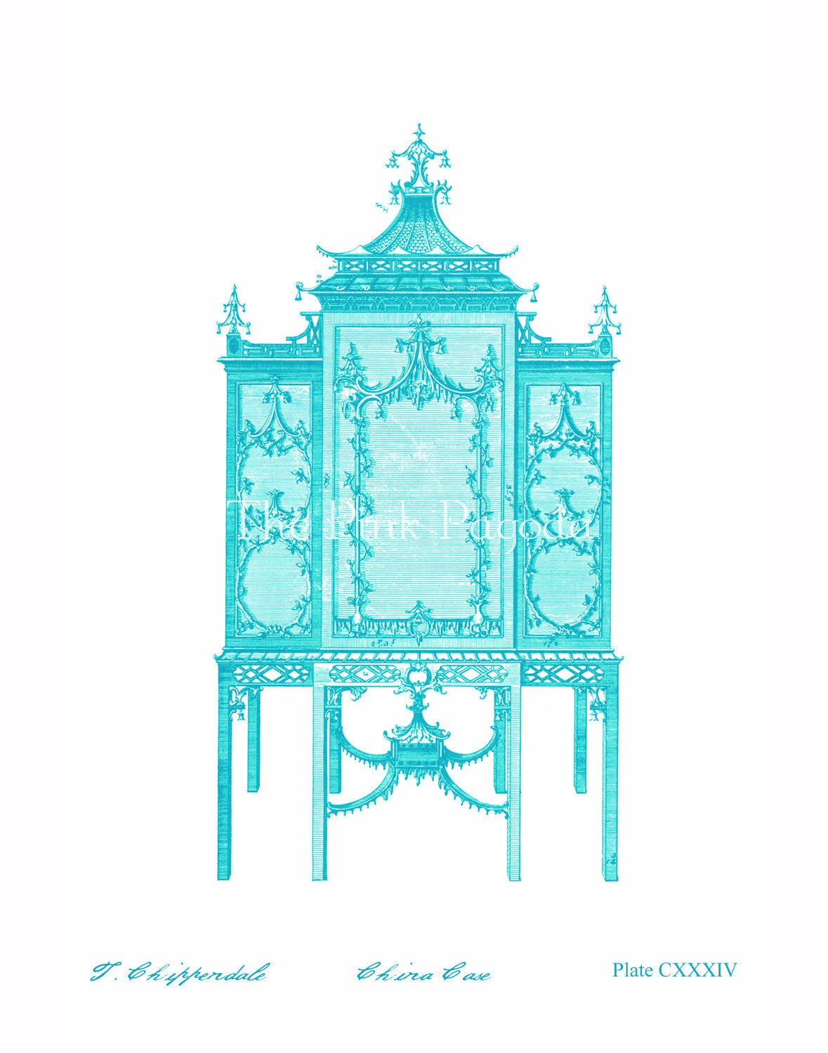 Turquoise Chinoiserie Chippendale Cabinet 11x14 Giclee