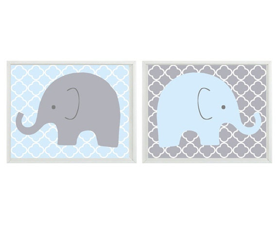 Elephant Nursery Wall Art Light Blue Gray Decor By Rizzleandrugee