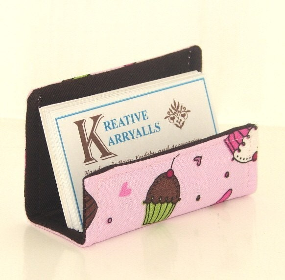 Fabric Desktop Business Card Holder Cupcakes by