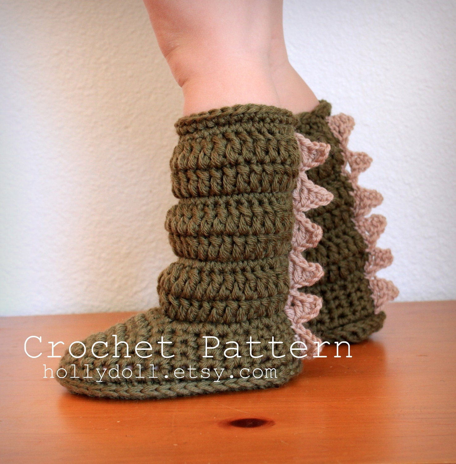 Free Crochet Pattern Dinosaur Slippers : Crochet pattern toddler cozies cozy boots for boys by ...