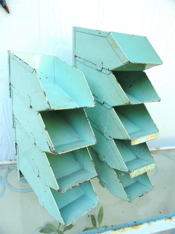 Vintage Industrial Storage Bin Aqua Metal By Bluebonnetfields