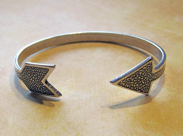 silver arrow bracelet by charmparfait on etsy