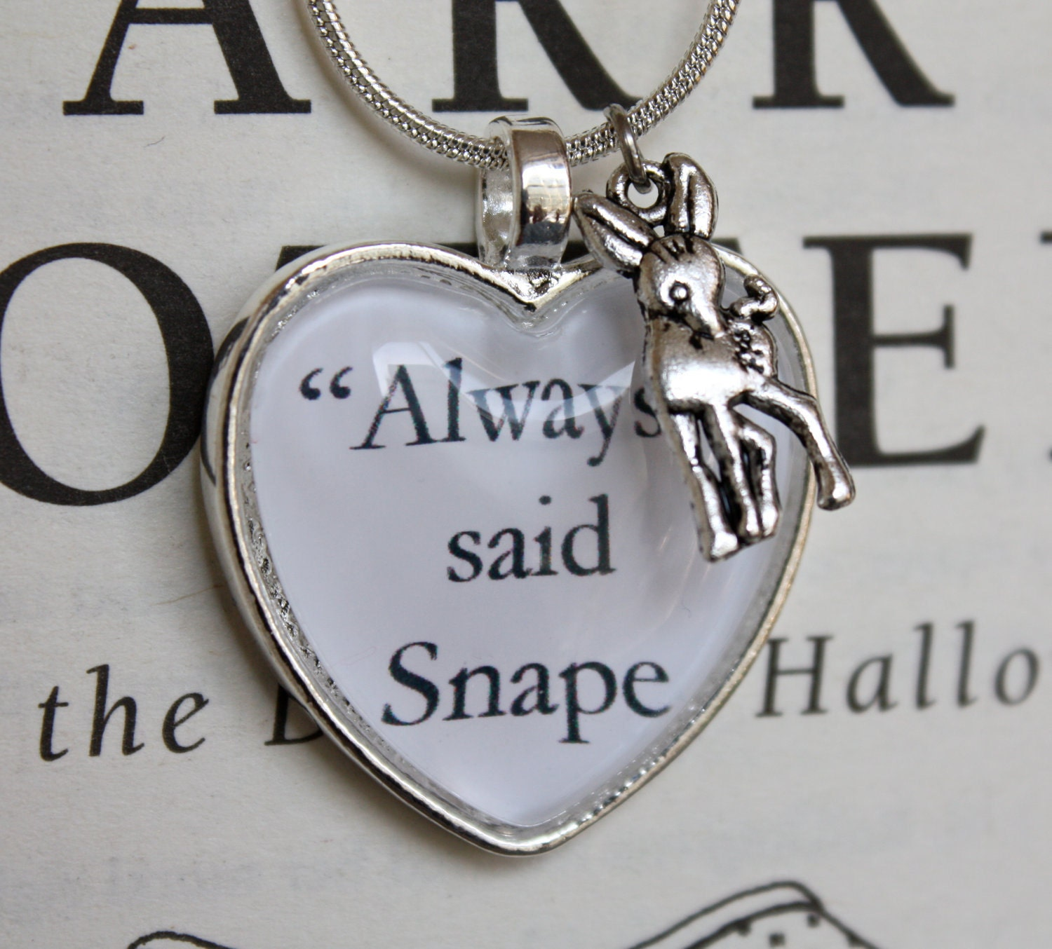 Harry Potter: ''Always' said Snape' Silver Doe Patronus Necklace