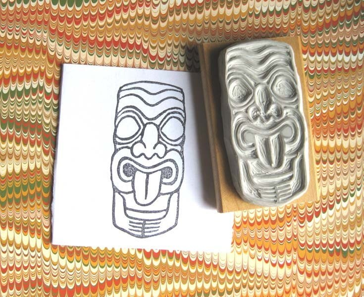 Tiki face hand carved stamp by extase on etsy