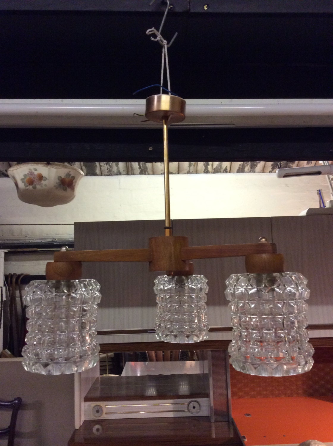 Image of 1960s large teak copper and glass hanging retro ceiling light