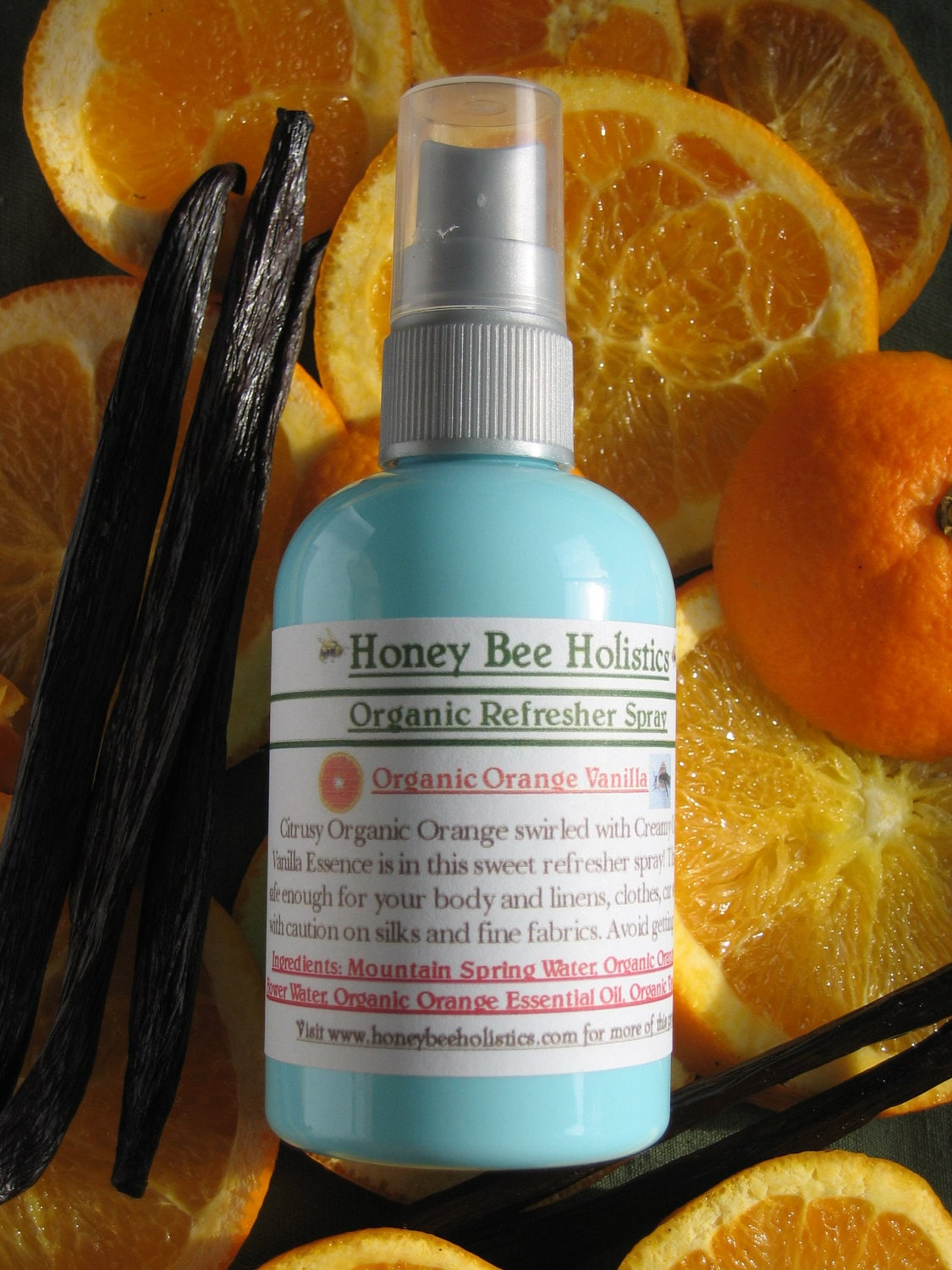 Organic Orange Vanilla Body Spray and Fabric Refresher - Like an Orange Creamsicle - No chemical additives - 4oz - HoneyBeeHolistics