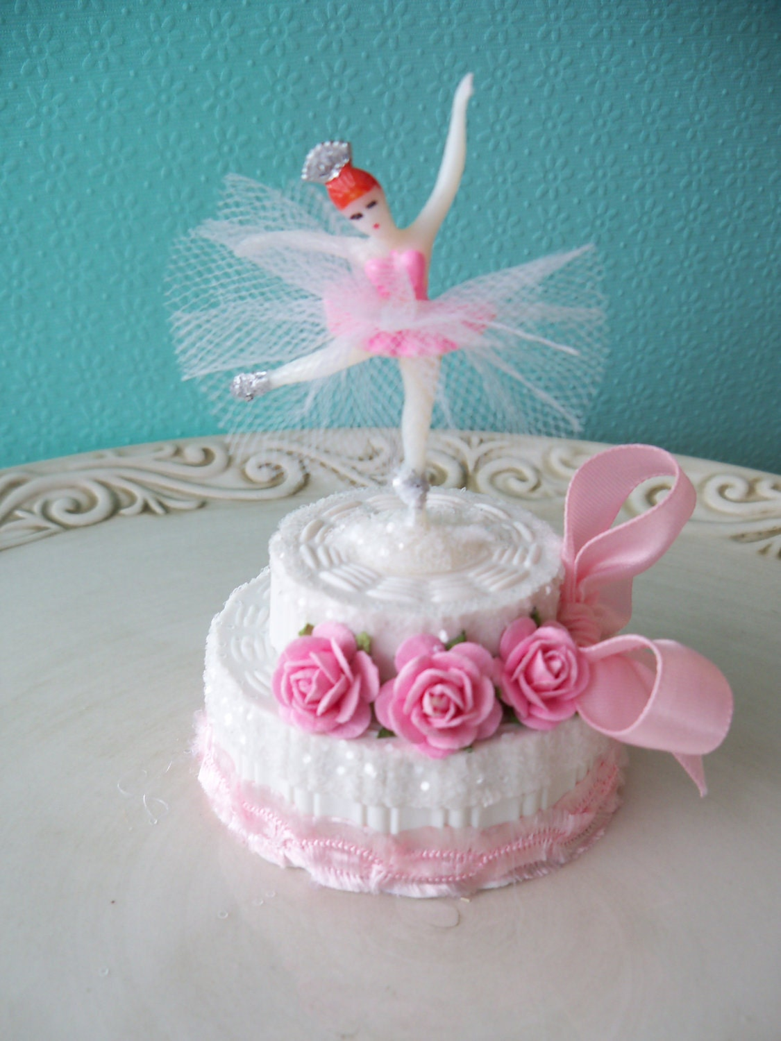 Ballerina birthday cake trinket box for ballet party by for Ballerina cake decoration