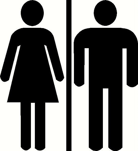 Unisex restroom bathroom door sign custom vinyl decal by wvgraphx