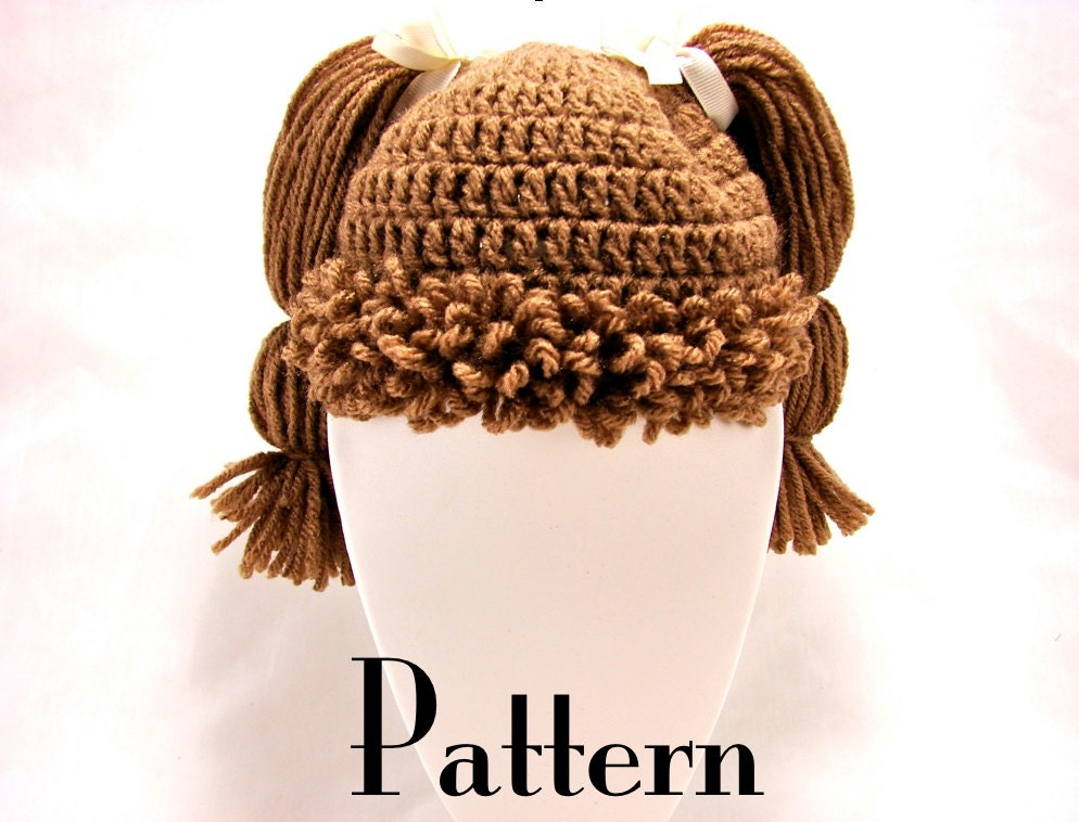 Cabbage Patch Kid Inspired Hat Crochet PATTERN - All Ages
