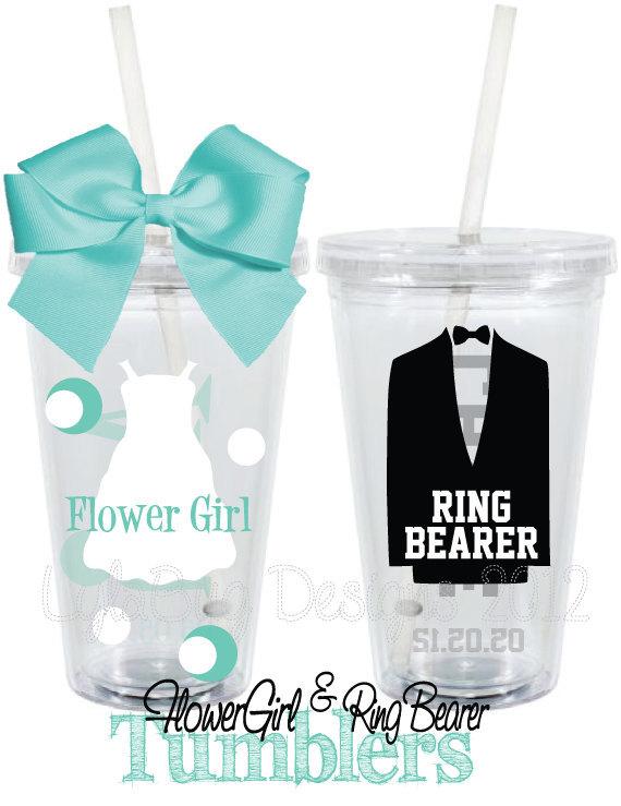Items Similar To Flower Girl Ring Bearer Gift Set Wedding Personalized 16oz Acrylic Tumbler On Etsy