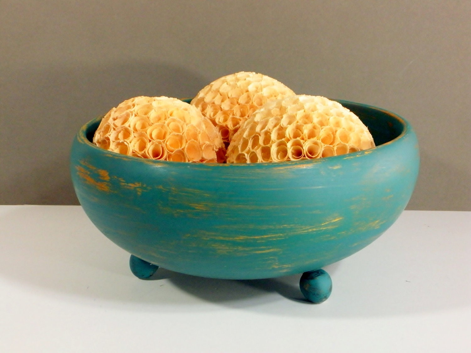 Decorative wooden bowl centerpiece distressed teal by