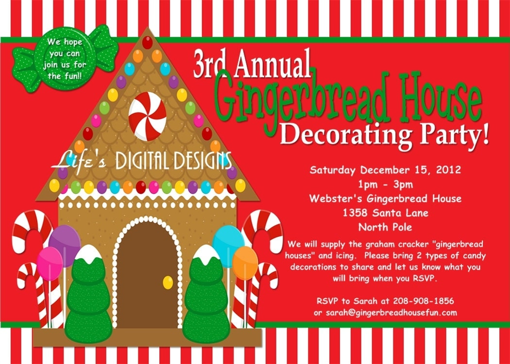 Gingerbread house invitations red and white stripes Gingerbread house decorating party invitations