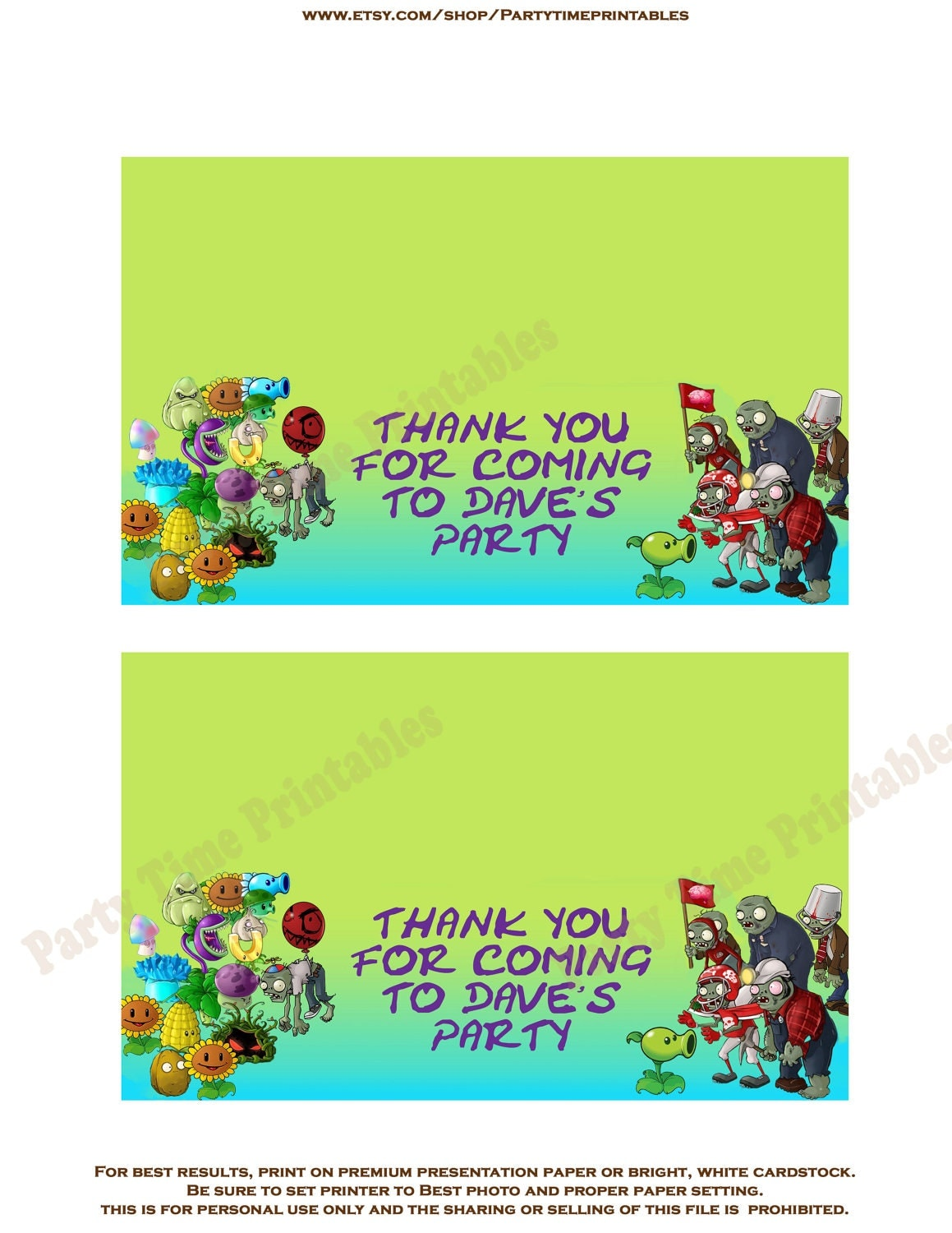 Zombie Birthday Cards Printable Plants Vs Zombies Favor Bag Toppers By