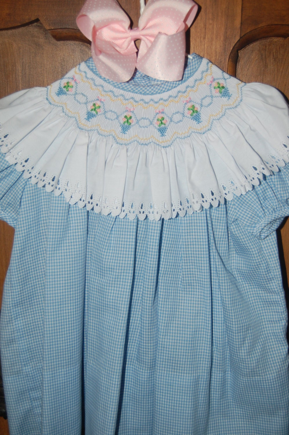 Boutique hand made smocked bishop easter dress by myrtlemauds