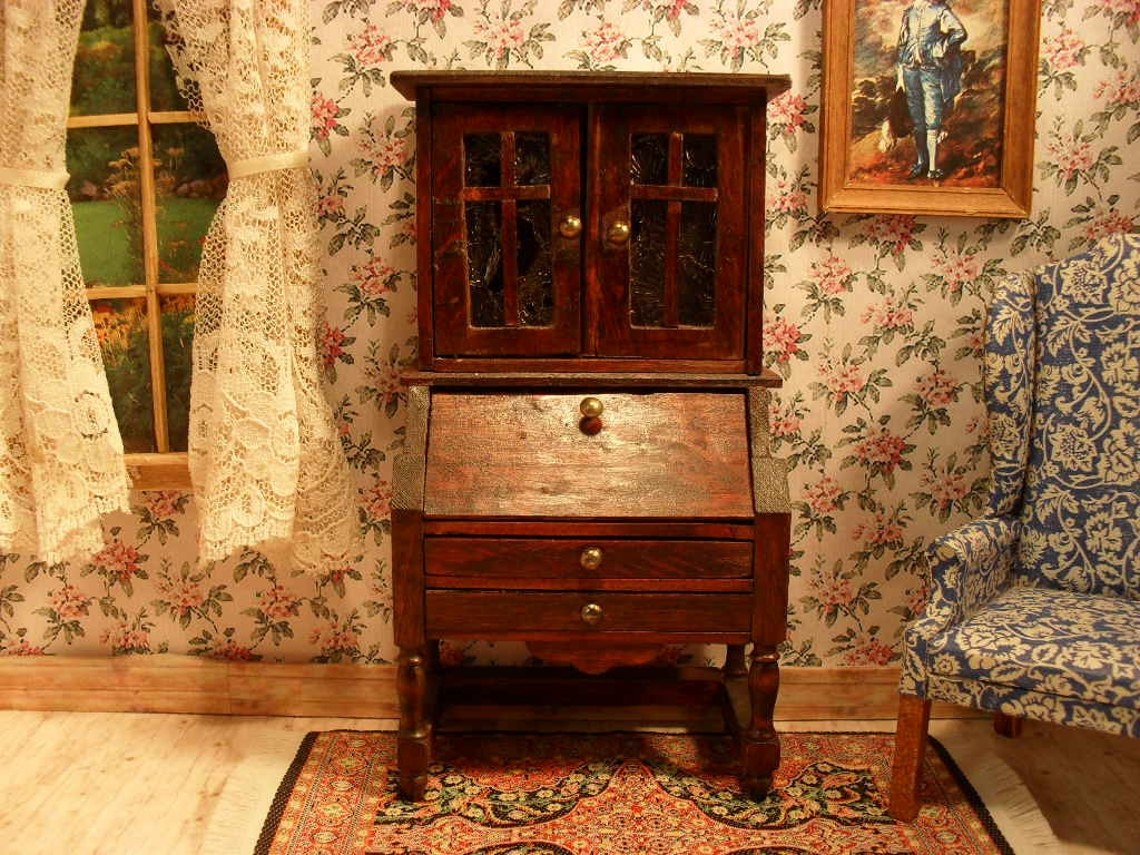 reserved antique dollhouse furniture desk and chair by