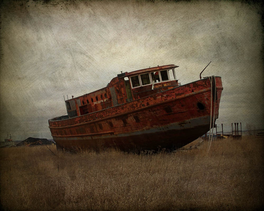 FREE US Shipping still life photography boat dry dock fine art photography nautical old boat 16x20 print home decor office decor - judeMcConkeyPhotos