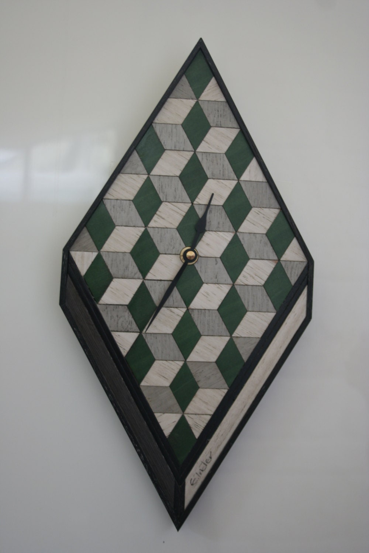 Green Wall Clock wooden wall Clock Geometric Clock green grey Clock Wood Wall Clock Wall Clock Art Deco Clock Retro 5th Anniversary Gift