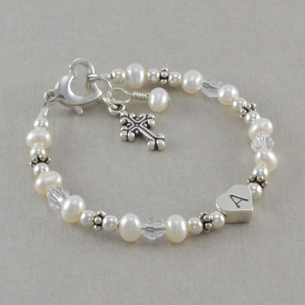 baptism bracelet baby christening pearl by sixsistersbeadworks