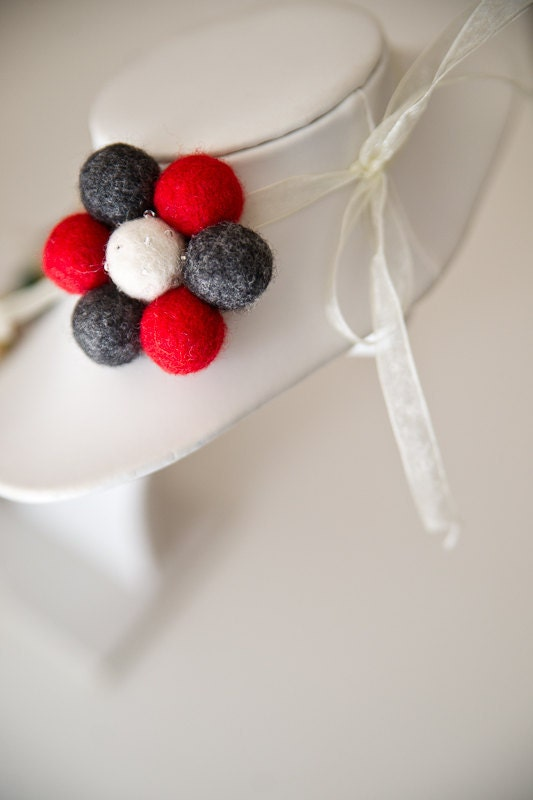 Felted flower pin brooch - Handmade scarlet red and gray felt beads with a white center - SuddenlyYou