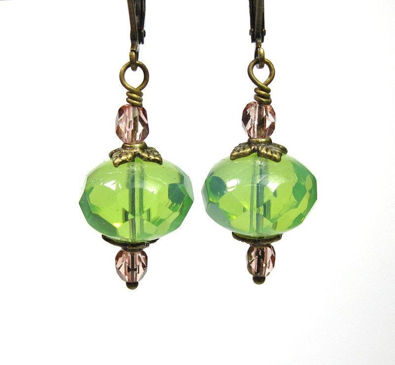 Light Mint Opal Czech Glass Vintage Style Earrings