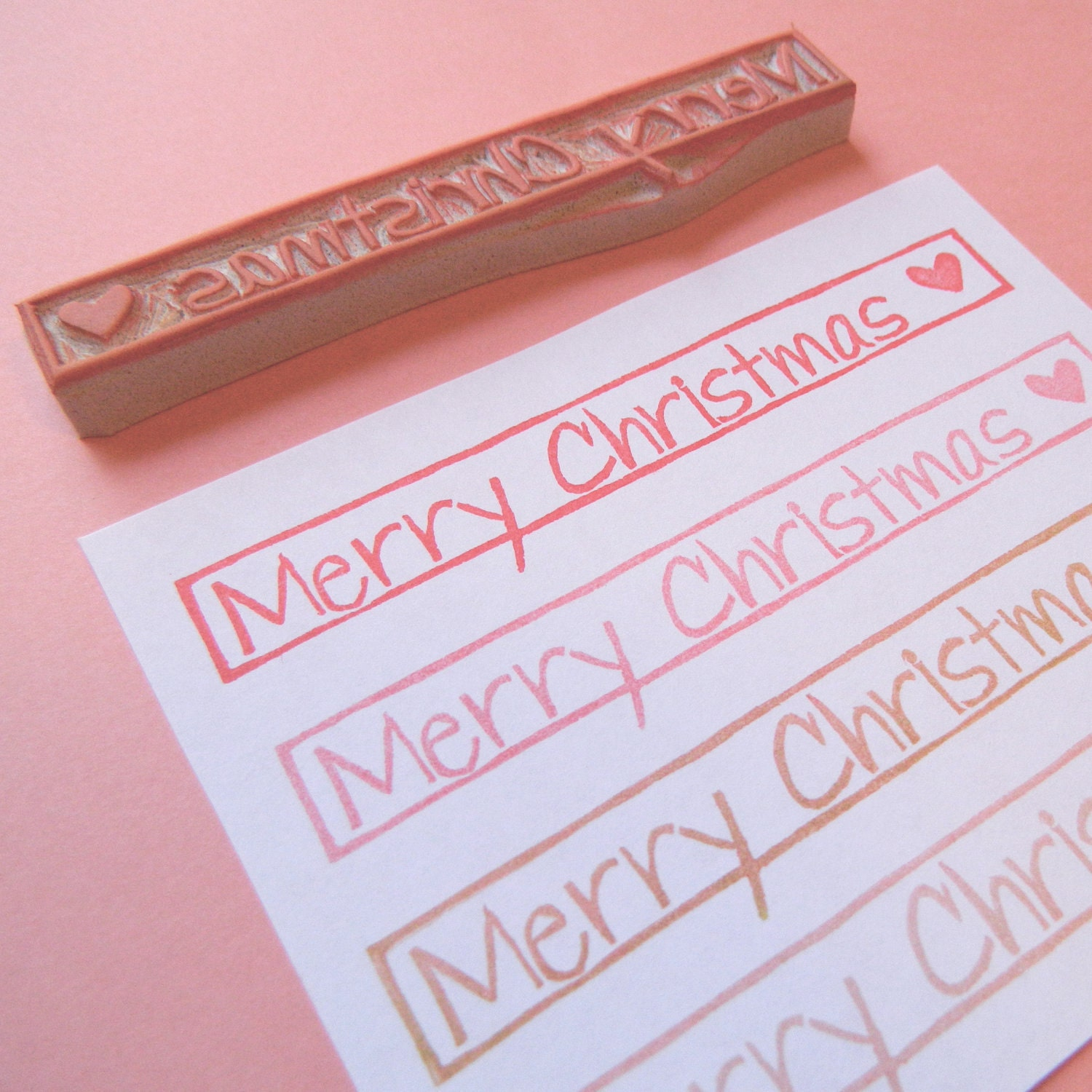 Merry Christmas - Simply Stated Hand Carved Stamp
