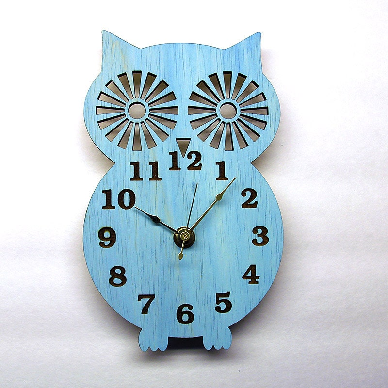Wall Clock  Modern Wooden Owl Silhouette Home Decor  with Sky Blue  Finish - Klokx