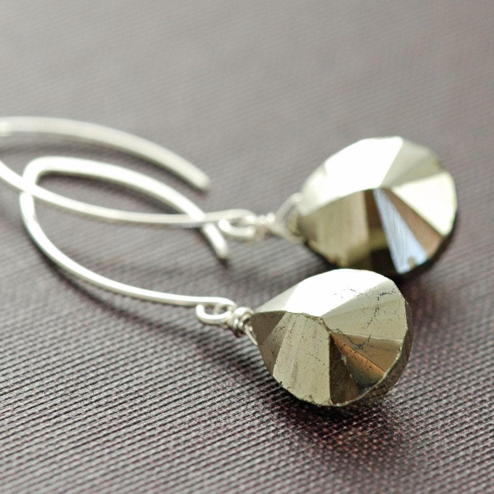 Pyrite Earrings in Sterling Silver, Gemstone Dangle Earrings- Glam Rock
