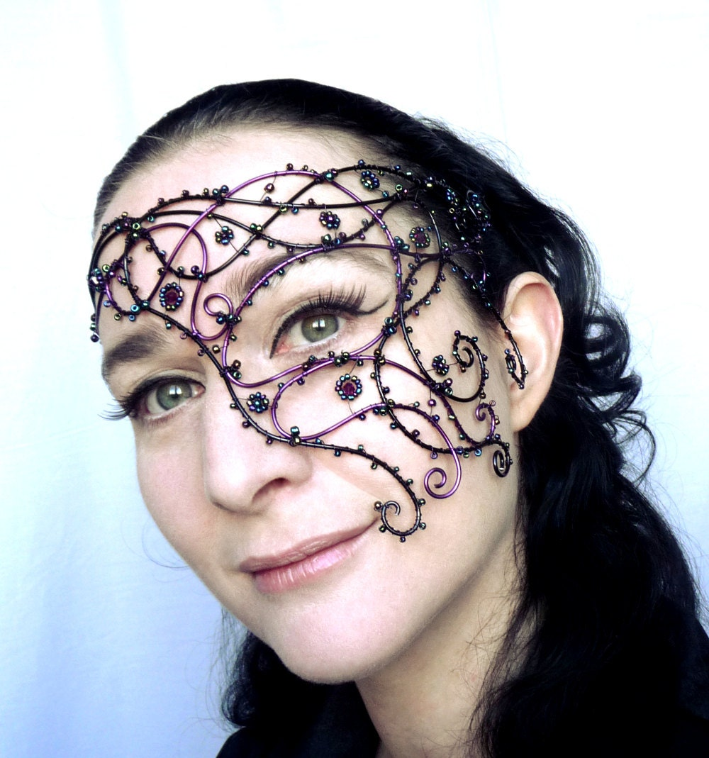 Purple and black vine half mask, handmade, womens, costume, accessories, masquerade - gringrimaceandsqueak