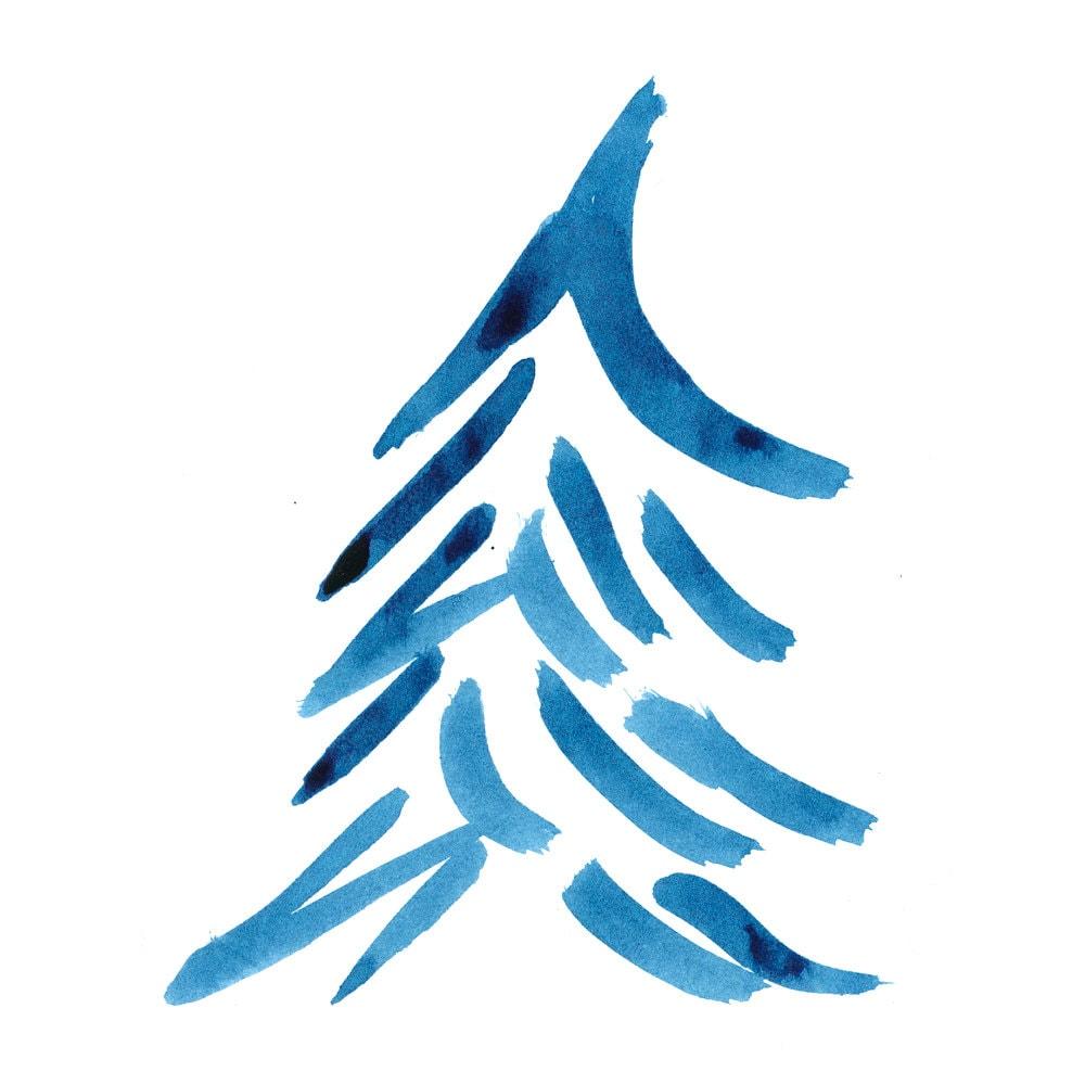 tree art painting ink surreal christmas tree blue indigo minimal tree image digital art prints gift for holidays fotofuze - Blue Christmas Tree