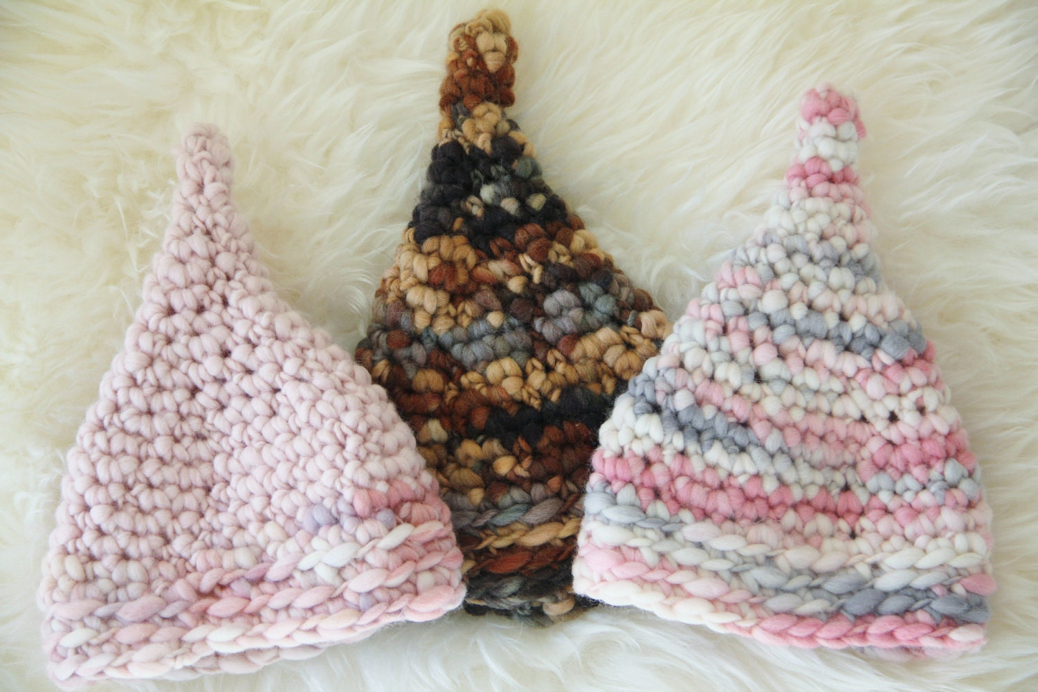 Free Crochet Baby Gnome Hat Pattern : Pixie Gnome Hat CROCHET PATTERN Newborn Thick and Thin by ...