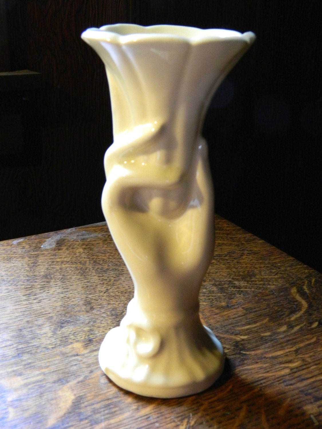 mid century mccoy pottery hand shaped vase by
