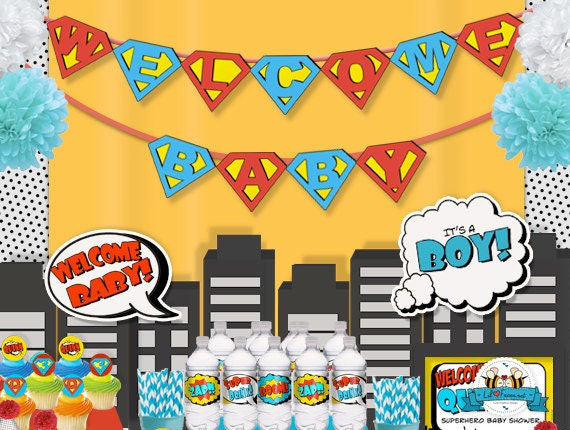 hero superhero baby shower bunting banner decoration superman logo
