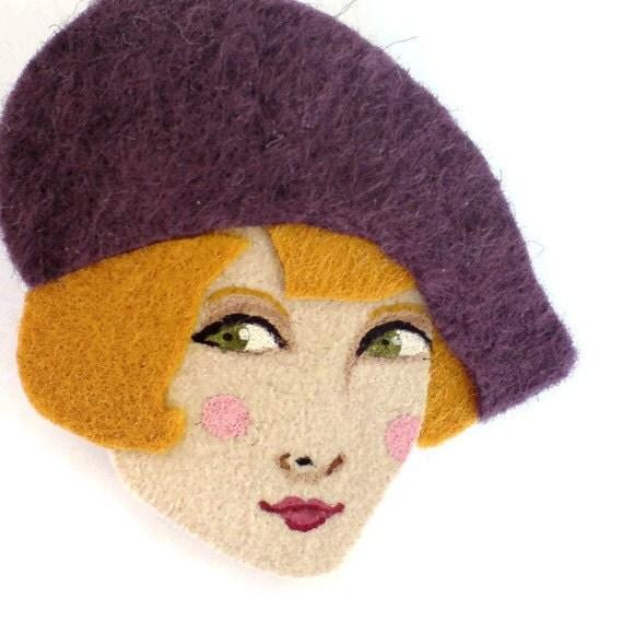 Girl with a beret brooch felt - Amelie, purple, mustard, gold, Autumn,