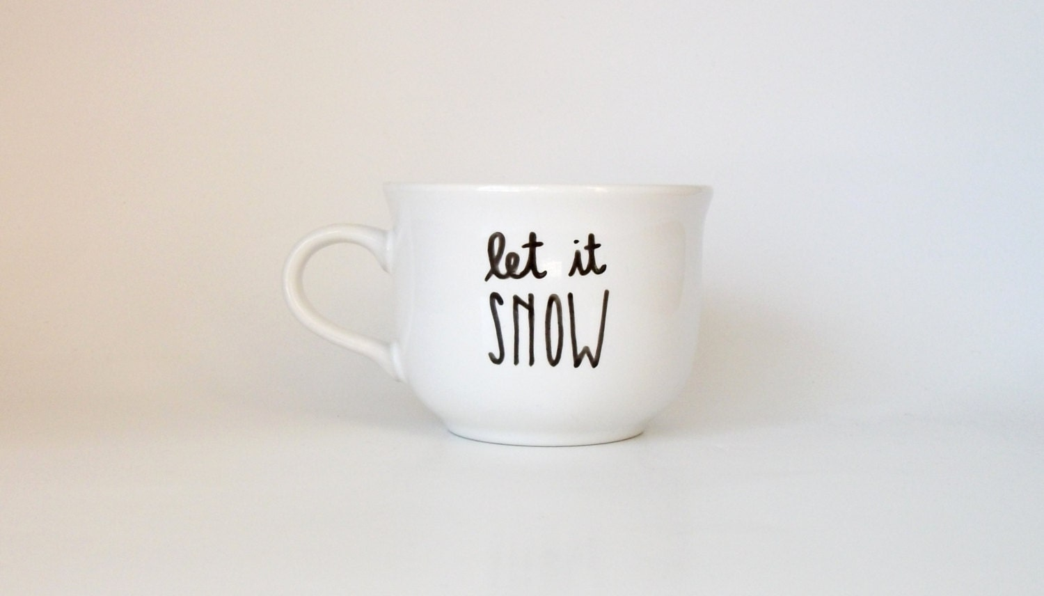 Let It Snow Winter Christmas Quote Hand Illustrated Art Mug 6 oz Dishwasher Safe - Farizula