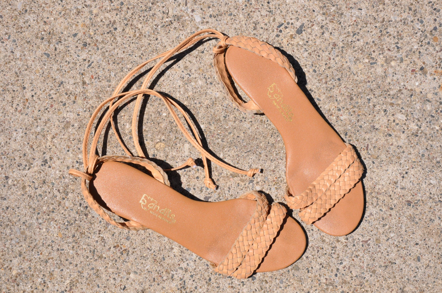 70s braided leather wedge sandals / vintage tan leather strappy wedges / Bandits sandals - QuietUnrest