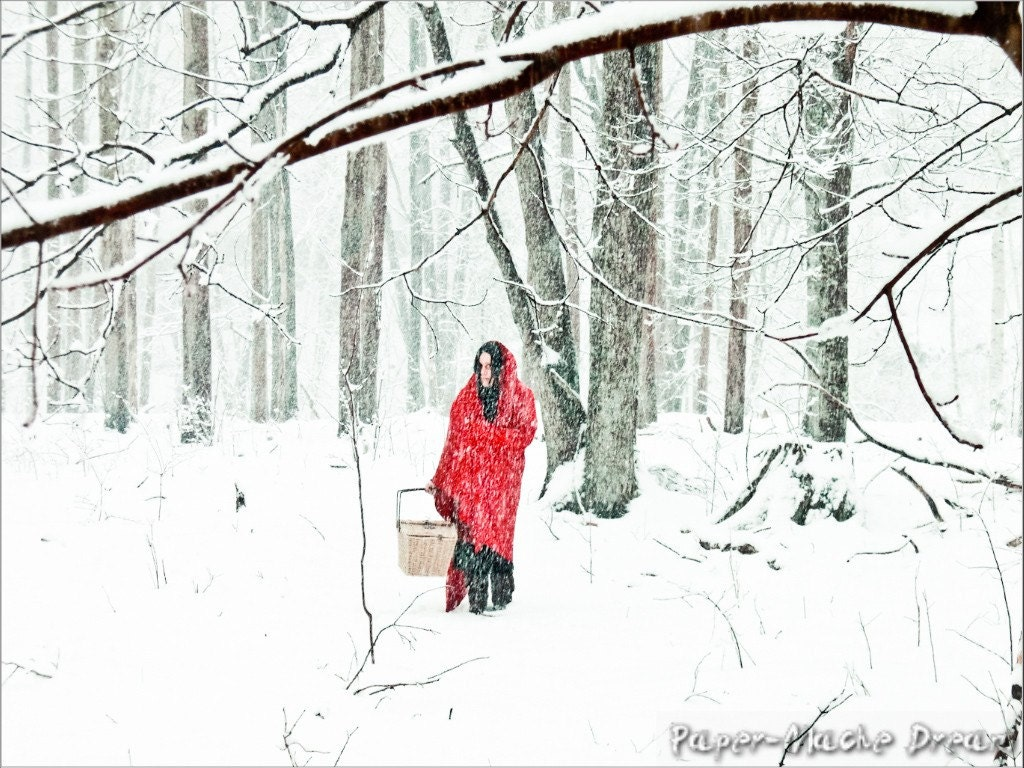 Red Riding Hood Winter photography Lost in the Woods, Red and White Snowflakes Original Photograph, By Paper-Mâché Dream Photography,fPOE