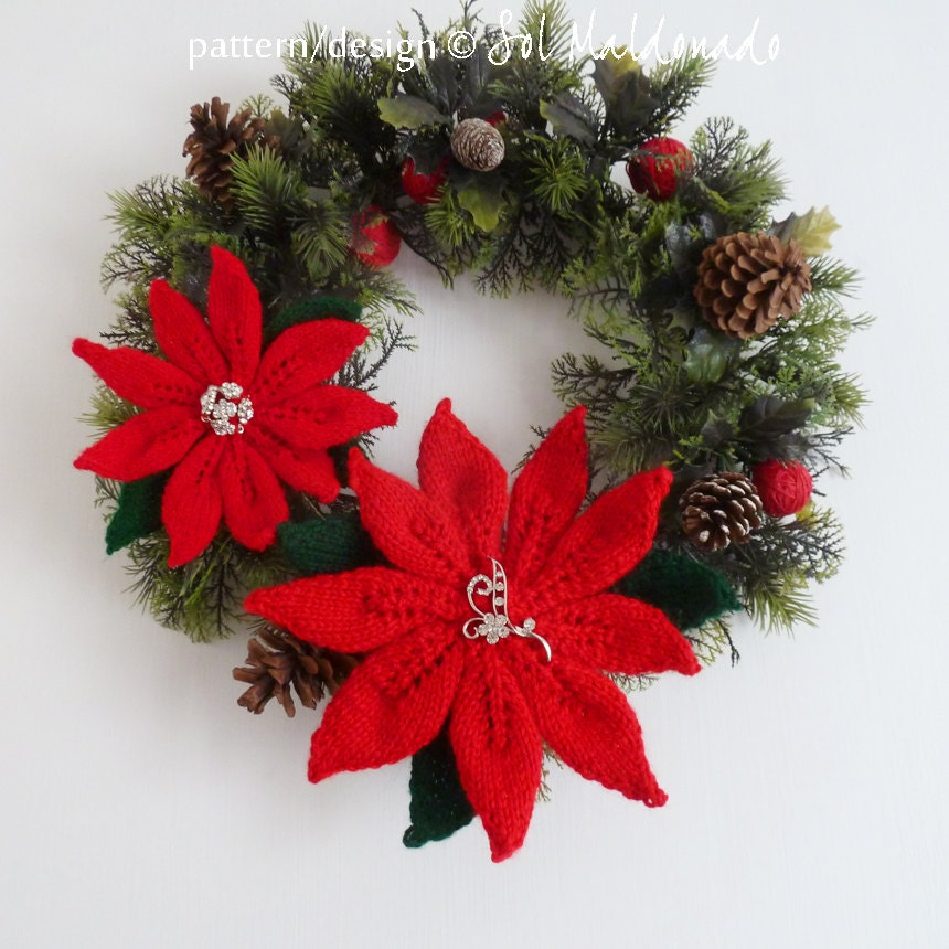 American Knitting Abbreviations Ssk : Items similar to poinsettia flowers decor christmas